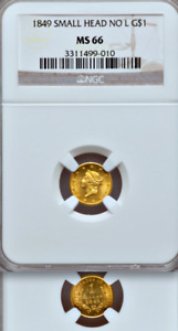 Click now to see the BUY IT NOW Price! 1849 NO L NGC MS66  1 YEAR TYPE  $12 500 PCGS PRICE GUIDE  GOLD DOLLAR $1