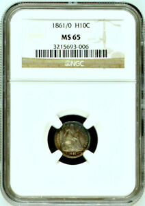 Click now to see the BUY IT NOW Price! 1861/0 NGC MS65 '1/0' OVERDATE  UNDERRATED KEY VARIETY SEATED HALF DIME H10C