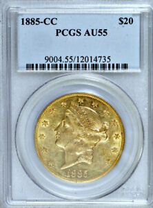 Click now to see the BUY IT NOW Price! 1885 CC PCGS AU55 MINTAGE 9 450  CARSON CITY $20 DOUBLE EAGLE  TWENTY DOLLARS