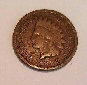 1889 INDIAN HEAD PENNY        REVERSE CUD