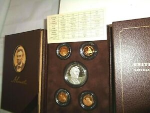 2009 5 PC SET LINCOLN COIN & CHRONICLES W/ PROOF SILVER DOLLAR & CASE & COA