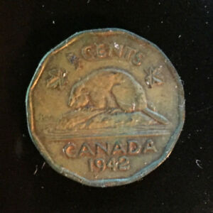 CANADA 1942 NICKEL 5 FIVE CENTS COIN KING GEORGE TOMBAC