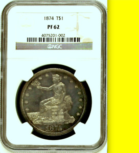 1874 NGC PR62 MINTAGE 700  NEARLY FULL CAMEO  COLORS  PROOF TRADE DOLLAR $1