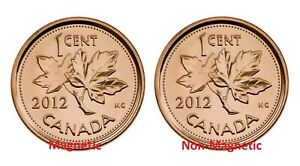 CANADA 2012 MAGNETIC AND NON MAGNETIC PENNY 1 CENT MINT SET