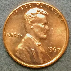 1967 P  UNCIRCULATED BU RED LINCOLN MEMORIAL CENT  FREE SHIP
