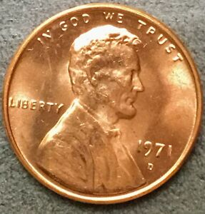 1971 D  UNCIRCULATED BU RED LINCOLN MEMORIAL CENT  FREE SHIP