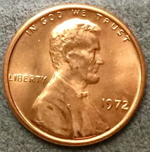 1972 P  UNCIRCULATED BU RED LINCOLN MEMORIAL CENT  FREE SHIP