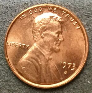 1973 S  UNCIRCULATED BU RED LINCOLN MEMORIAL CENT  FREE SHIP