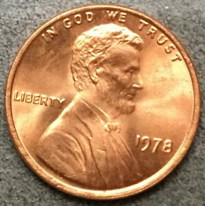 1978 P  UNCIRCULATED BU RED LINCOLN MEMORIAL CENT  FREE SHIP