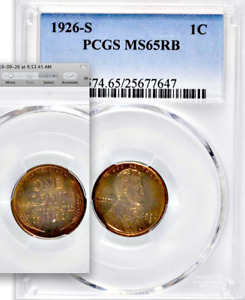Click now to see the BUY IT NOW Price! 1926 S PCGS MS65 RB  $115 000 CU FOR 65RD  90  RED  PQ  LINCOLN WHEAT CENT 1C
