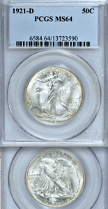 Click now to see the BUY IT NOW Price! 1921 D PCGS MS64 BRIGHT BEAUTIFUL KEY TO THE WALKING LIBERTY HALF DOLLAR SET 50C
