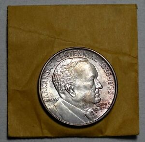 1936 ROBINSON ARKANSAS COMMEM HALF DOLLAR UNC GREAT ORIGINAL COLOR   0110 03