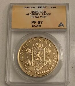Click now to see the BUY IT NOW Price! 1989 ALDERNEY 2LB PROOF ROYAL VISIT GRADED ANACS PF67 DCAM COIN 2 POUND MINT 100