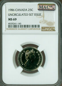 Click now to see the BUY IT NOW Price! 1986 CANADA 25 CENTS NGC MAC MS69 PQ FINEST GRADE SPOTLESS   ..