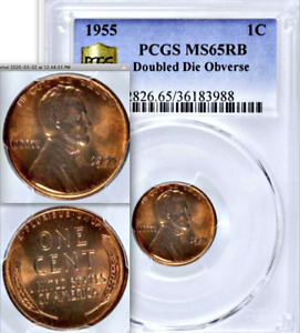 Click now to see the BUY IT NOW Price! 1955/55 PCGS MS65 RB DOUBLED DIE OBVERSE  MOSTLY RED LINCOLN WHEAT CENT DDO 1C