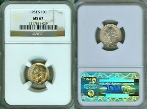 1951 S ROOSEVELT DIME 10 CENTS BU NGC MS67 TONED COIN MUST HAVE