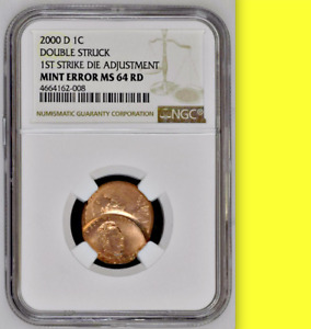 Click now to see the BUY IT NOW Price! 2000 D NGC MS64  DIE ADJUSTMENT STRIKE OVER STRUCK BY NORMAL LINCOLN CENT  1C
