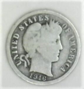 NICE EARLY YEAR 1916  BARBER DIME BUY IT NOW
