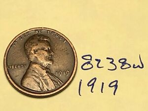 1919 1C BN LINCOLN CENT 8238W WHEAT PENNY