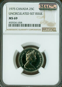 1975 CANADA 25 CENTS NGC MAC MS69 PQ FINEST GRADE SPOTLESS   ..