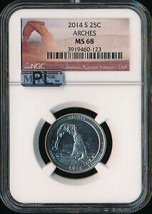 Click now to see the BUY IT NOW Price! 2014 S ARCHES QUARTER NGC MAC MS68 PL MAC SPOTLESS..
