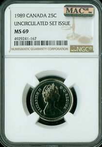 1989 CANADA 25 CENTS NGC MAC MS69 PQ FINEST GRADE SPOTLESS   ..