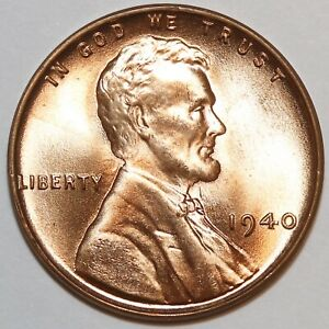 1940 P LINCOLN WHEAT CENT PENNY  GEM NICE LUSTER FROM OBW 0111
