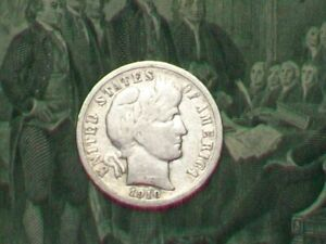 EARLY DATE 90  SILVER BARBER DIME  1910 D     DENVER MINT