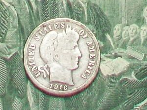 OLD  EARLY DATE  90  SILVER BARBER DIME  1916 S     SAN FRANCISCO MINT