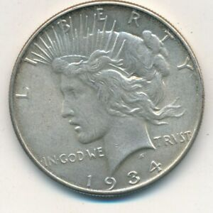 1934 PEACE SILVER DOLLAR VERY NICE GENTLY CIRCULATED PEACE DOLLAR SHIPS FREE