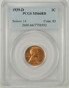 1939 D  1C LINCOLN WHEAT CENT PCGS MS66RD 7758552   GREAT EYE APPEAL
