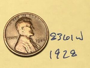 1928 1C BN LINCOLN CENT 8361W WHEAT PENNY