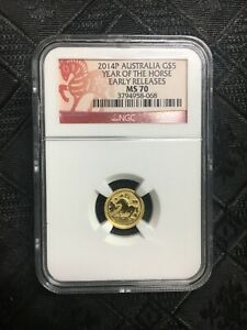 2014 P AUSTRALIA GOLD $5 YEAR OF THE HORSE NGC MS 70 EARLY RELEASES