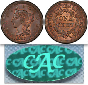 Click now to see the BUY IT NOW Price! 1857 PCGS MS66 RB POP 2/0 ALL COLORS AND VARIETIES  CAC SMALL DATE LARGE CENT 1C