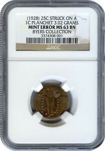 1928 STANDING LIBERTY QUARTER STRUCK ON A CENT PLANCHET NGC MS 63 BN