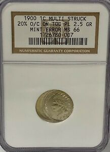 1900 INDIAN CENT MULTI STRUCK 20  OFF CENTER ON DIME PLANCHET NGC MS 66 UNIQUE