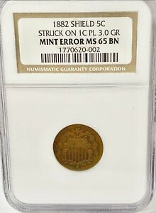 1882 SHIELD NICKEL STRUCK ON A CENT PLANCHET 3.0 GRAMS NGC MS 65 BN FINEST KNOWN