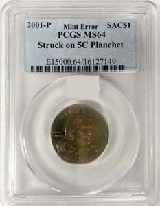 2001 P SACAGAWEA DOLLAR STRUCK ON A 5 PLANCHET PCGS MS 64 3 KNOWN