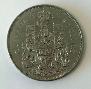 CANADA 1981 50 CENT COAT OF ARMS HALF DOLLAR COIN