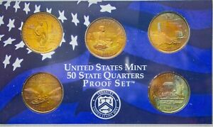 Click now to see the BUY IT NOW Price! 2003 S USA STATE QUARTERS PROOF SET 5 COINS TONED BU COLOR GEM UNC STRIKING  DR