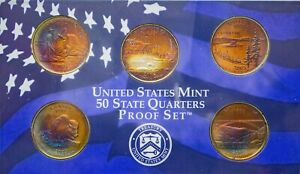 Click now to see the BUY IT NOW Price! 2005 S USA STATE QUARTERS PROOF SET 5 COINS MOSNTER TONED BU COLOR UNC GEM  DR