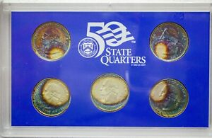 Click now to see the BUY IT NOW Price! 2005 S USA STATE QUARTERS PROOF SET 5 COINS COLOR GEM TONED WONDERFUL UNC  DR