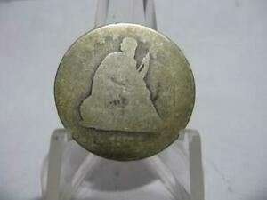VERY OLD  1877 P SEATED LIBERTY QUARTER A. GOOD CONDITION  NMF176