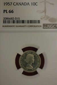 1957 PL 66 CANADA DIME NGC GRADED CERTIFIED AUTHENTIC SLAB OCE 926