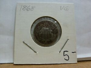 1868 SHIELD NICKEL 5 CENT PIECE  NO RAYS