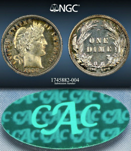 1900 NGC PR66 $1 900 NGC PRICE GUIDE  SUPER EYE APPEAL  PROOF BARBER DIME 10C