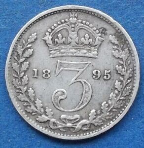 UK   SILVER 3 PENCE 1895 KM 777 VICTORIA  1837 1901    EDELWEISS COINS