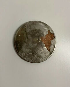 OBVERSE & REVERSE PARTIAL MISSING CLAD LAYER KENNEDY HALF DOLLAR 1974 D
