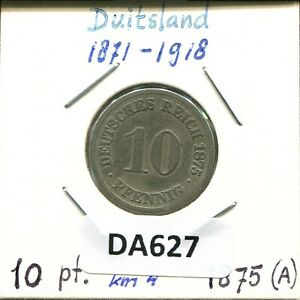 10 PFENNIG 1875 A GERMAN EMPIRE WILHELM I DA627.2GW