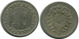 10 PFENNIG 1875 A GERMAN EMPIRE GERMANY DB304GW